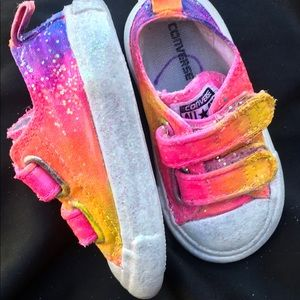 Custom painted sparkle toddler rainbow converse 5